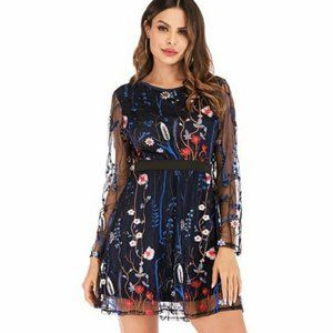 CBR Embroidered Floral Overlay Dress | NWT | M